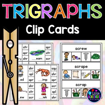 3 Letter Blends Trigraphs Clip Cards