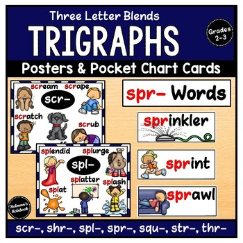 Trigraphs 3 Letter Blends (Posters and Pocket Chart Cards)