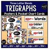 Trigraphs 3 Letter Blends - Posters and Pocket Chart Cards