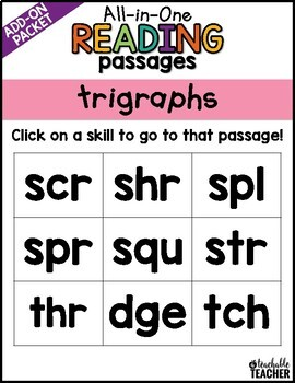 Trigraphs Reading Passages   All-in-One Phonics Reading Passages and Questions