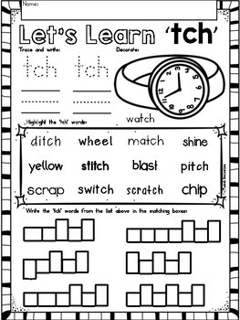 "Trigraphs ""TCH"" Phonics Literacy Printables for Kindergarten and First Grade"