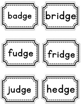 Trigraphs tch, dge words | Bam game