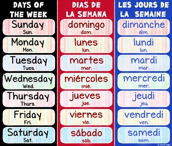 Trilingual Days of the Week Poster (English, Spanish, French)