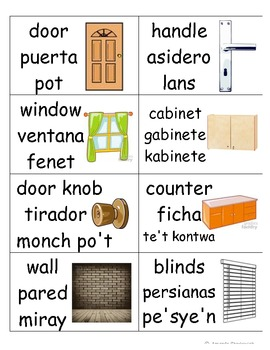 Trilingual classroom picture word wall cards