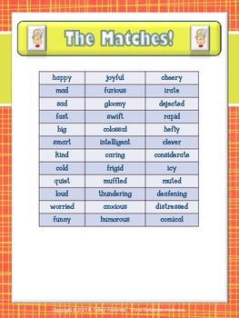 "Trilogy Matching Game Synonyms ""Adjectives"" Edition"
