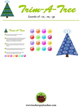 Trim-A-Tree Christmas Phonics Game Activity Sounds of -ce, -se, -ge