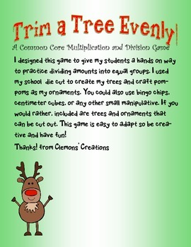 Trim A Tree Evenly: A Common Core Christmas Multiplication or Division Game