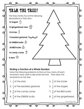 Trim a Christmas Tree - Practice with Multiplying a Fraction by a Whole Number