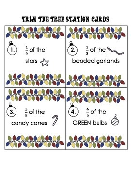 """Trim the Tree """"Around the Room""""  Multiplying a Fraction by a Whole Number"""