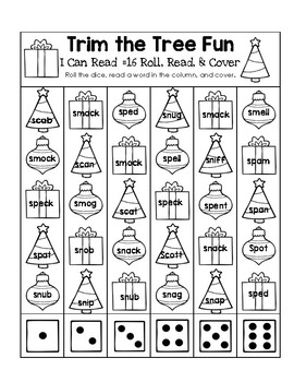 Trim the Tree Fun - I Can Read It! Roll, Read, and Cover (Lesson 16)
