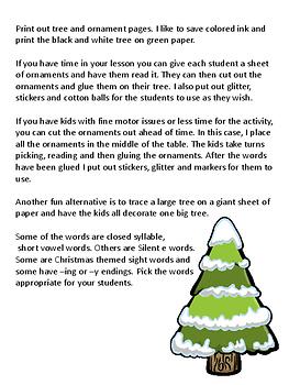 Trim the Tree! Reading Activity