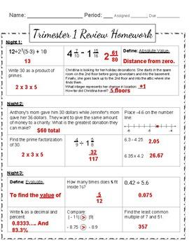 Trimester 1 Review Homework