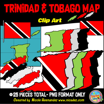 Trinidad and Tobago Outline Maps and Flag Clip Art for Teachers