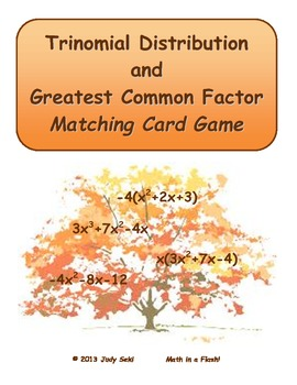 Trinomial Distribution and Greatest Common Factor Matching Flash Card Game