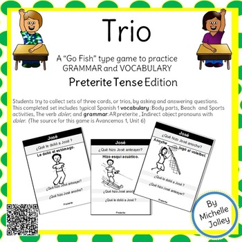 Spanish Preterite, Beach and Leisure Vocabulary - Trio Card Game