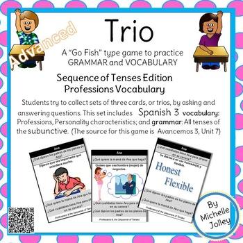 Spanish Subjunctive (all tenses), Professions,  Trio Card Game:
