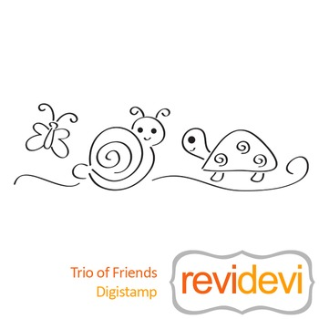 Trio of friends (digital stamp, coloring image) S018, snail, turtle butterfly
