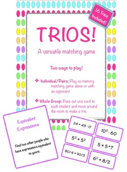 Trios! 16 Math Matching Games