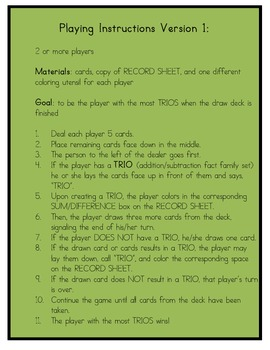 Trios - An Addition & Subtraction Fact Family Game