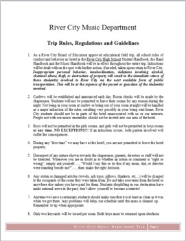 Trip Guidelines, Rules, Regulations, for Band, Choir, Orchestra - Word Format