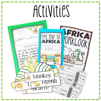 """""""Trip to Africa"""" Power Point, Activities, & Crafts!"""