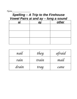 Trip to the Firehouse Cut and Paste Spelling Word Sort HMR Grade 2