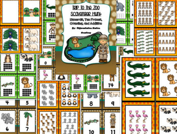 Trip to the Zoo Math Scavenger Hunt: Numerals, Ten Frames Counting Cardinality