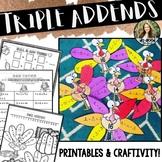 Triple Addends ~ Turkey Style! > Add Three with Printables & Craftivity