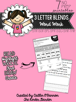 Triple Consonant Blends Word Work Printables
