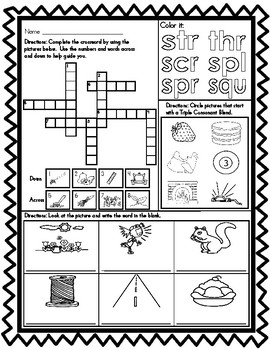 Triple Consonant Blends Worksheets