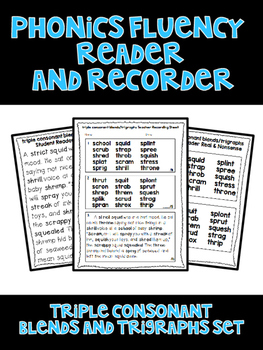 Triple Consonant Blends and Trigraphs - Phonics Fluency Assessment
