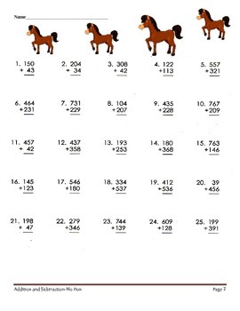 Addition & Subtraction Worksheets-Triple Crown Edition