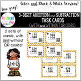Triple Digit (3 Digit) Addition & Subtraction Task Cards (Regrouping) & QR codes