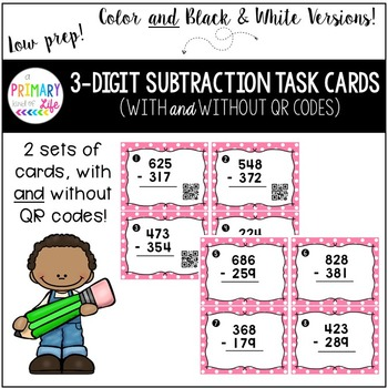 Triple Digit (3 Digit) Subtraction Task Cards with Regrouping and QR codes