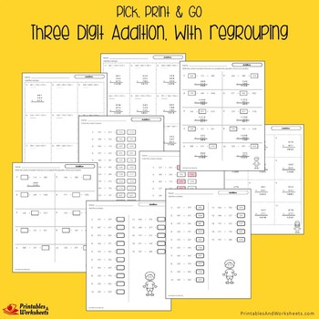 3-Digit Subtraction And Addition With Regrouping Worksheets Bundle