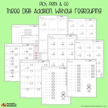 3-Digit Borrowing And Carrying Addition And Subtraction Worksheets Bundle