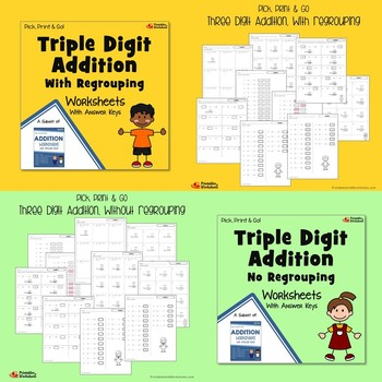 Triple Digit Addition And Subtraction Worksheets Bundle