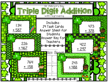 Triple Digit Addition Scoot with Regrouping St. Patrick's Day