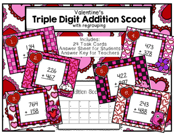 Triple-Digit Addition Scoot with Regrouping Valentine's Day