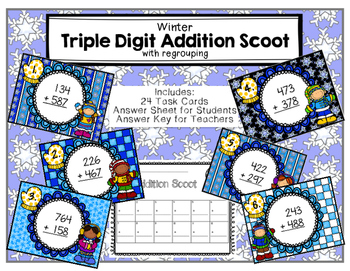 Triple-Digit Addition Scoot with Regrouping Winter