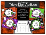 Triple Digit Addition Scoot with regrouping Halloween
