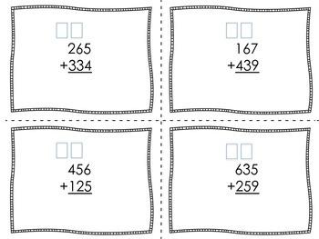 Triple Digit Addition Task Card Math Center!
