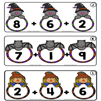 Triple Digit Addition Task Cards ~ Halloween Themed