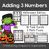 Adding Three Numbers: Task Cards ~ Halloween Themed