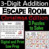 Triple Digit Addition With and Without Regrouping Game: Christmas Escape Room