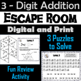 Triple Digit Addition With and Without Regrouping Game: Escape Room Math