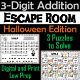 Triple Digit Addition With and Without Regrouping Game: Halloween Escape Room