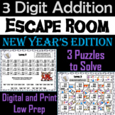 Triple Digit Addition With and Without Regrouping Game: New Year's Escape Room