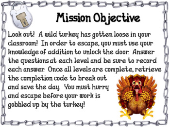 Triple Digit Addition With and Without Regrouping Game: Thanksgiving Escape Room
