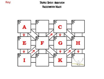 Triple Digit Addition With and Without Regrouping Halloween Math Maze